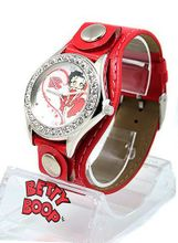 Betty Boop Silver Tone White Crystal 34mm Bezel . Red Strap