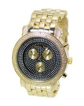 Big Gold Tone Techno Ice Wrist 50mm White Crystal Bezel Link Bracelet