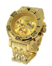 "Big Heavy Gold Tone Sports Dress 75mm Bezel 8"" Link Bracelet"
