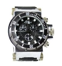 Big Heavy Sports Dress Steel Tone Block Case 69mm Black Bezel