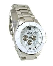Big Wrist Steel Sports 50mm White Bezel Silver Tone Link Bracelet