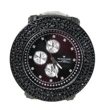 Clubbing 3row Black Cz 60mm Bezel Black Divers Strap with Bullets