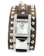 Designer-style Ladies Silver Tone 37mm Bezel & Brown Leather Strap