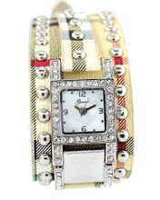 Designer-style Ladies Silver Tone 37mm Bezel & Plaid Leather Strap