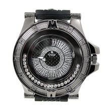 Diamond Accent Black Finish 54mm Case Black Sports Strap