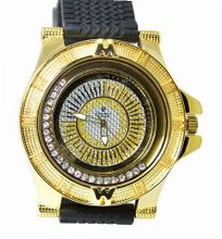 Diamond Gold Tone Motorsports Turbine 54mm Case Black Sports Strap