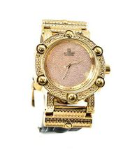 Diamond Hip Hop Gold Tone 50mm Bezel Black Leather Strap