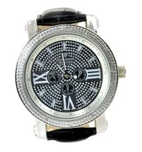 Diamond Hip Hop Silver Tone 50mm Bezel Black Leather Strap