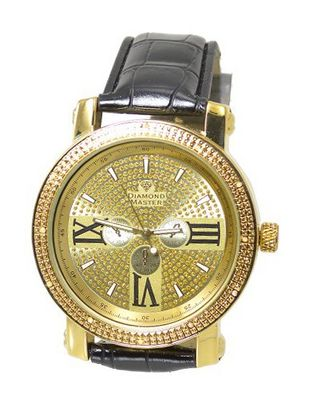 Gold Tone Diamond 50mm Case Black Leather Strap