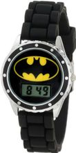 Batman Kids' BAT4045 Black Rubber Strap With Batman Logo Face