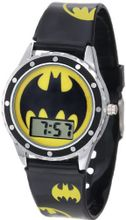 Batman Kids' BAT4068 Black Silicone Printed Batman Logo Strap