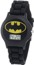 Batman Kids' BAT4072 Black Rubber Batman Logo Strap