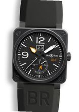Bell and Ross Aviation Black Dial Black Rubber BR0351-GMT-CB