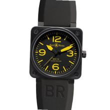 Bell & Ross Aviation Yellow BR0192YELL Automatic Stainless Steel Case Black Rubber Anti-Reflective Sapphire