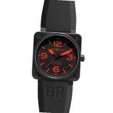 Bell & Ross BR 01 92 RED Steel Carbon Black Red Dial Rubber Strap