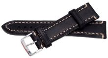 Bernex Liberty, Artisan L Unisex Black Leather Buckle Pin of 2.2cm GB42334