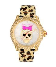 Betsey Johnson BJ00019-25 Analog Skull Dial and Leopard Printed Strap