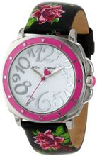 Betsey Johnson BJ00044-16 Analog Rose Printed Leather Strap