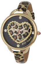 Betsey Johnson BJ00067-14 Analog Leopard Pattern Heart Dial