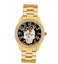 Betsey Johnson , Gold-Tone BJ00048-65 Skull with Leopard Print Bow