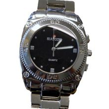Biancchi Designer Dress Silver Bracelet with Black Face & Silver Accents