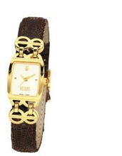 Bill Blass Chelsea Ladies Brown Leather Strap Gold IP 40717