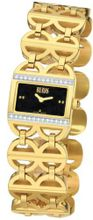 Bill Blass Diamond Signature Gold IP Black Dial Diamonds 40741