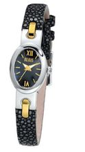 Bill Blass Metropolitan Ladies Black Stingray Strap Black Dial 40698