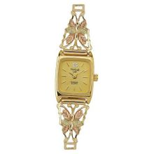Black Hills Gold Analog Black Dial Ladies Gold Butterfly 9-WB76