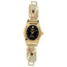 Black Hills Gold Analog Black Dial Ladies Gold Sapphire