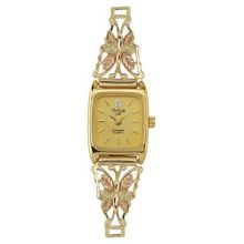 Black Hills Gold Analog Black Face Ladies Gold Butterfly 9-WB4