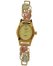 Black Hills Gold Analog Champagne Dial Ladies Gold Amethyst