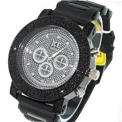 3 Row o' Rocks Iced out Black Chrome Hiphop Bling Rubber strap
