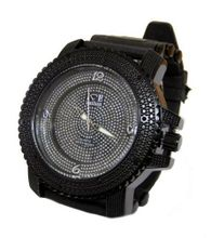 Iced out 3D Crystal face Hiphop Bling ALL BLACK Rubber strap