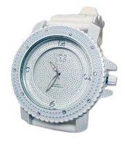 Iced out 3D Crystal face Hiphop Bling ALL WHITE Rubber strap