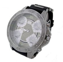 Jumbo designer style Iced out ALL SILVER Rubber Strap Hiphop Bling