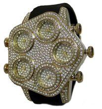 uBling Bling Online Fully Iced Gold Faux Diamond 5 Time Zone hipHop Bling