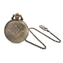Bling Jewelry Antique Style Large Freemason Symbol Quartz Pocket