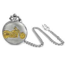 Bling Jewelry Antique Style Motorcycle Biker Large Two Tone Pocket