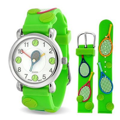 Bling Jewelry Green Analog Tennis Sports Kids Stainless Steel Back