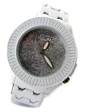 Bling MRSTER All White Rubber coated Metal Strap HipHop Bling