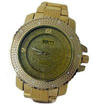 Bling MRSTER Iced out 3D Bezel Hiphop Bling Gold Plated Metal strap