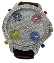Totally Iced out Fully Functioning 5 Time Zone Multi Colour hiphop bling