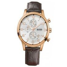 Hugo Boss 1512519 White Dial Chronograph Date Leather Strap