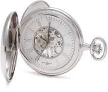 Bouverat 1919 Double Opening Shield Case Full Hunter Mechanical Roman Pocket with Silver Dial BV824205