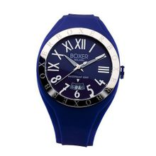 Boxer Milano Unisex Quartz with Blue Dial Analogue Display and Blue Rubber Strap BOX 40 BL