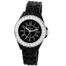 "Breda 1625-Black ""Avery"" Rhinestone Encrusted Sleek Metal"