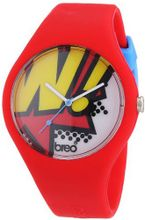 Breo Classic Unisex Quartz with Multicolour Dial Analogue Display and Red Rubber Strap B-TI-CLCP10
