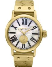 BRERA BWVA24207G Valentina Classic 42mm Gold tone case with White Mother of Pearl dial and Black roman numerals GOLD Tone BRAIDED Rubber strap