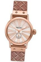 BRERA BWVA34279-RSWV Valentina Contemporary Sparkle 42mm ROSE Gold tone case with Real Diamonds Rose Gold tone Woven pattern rubber strap with signature buckle